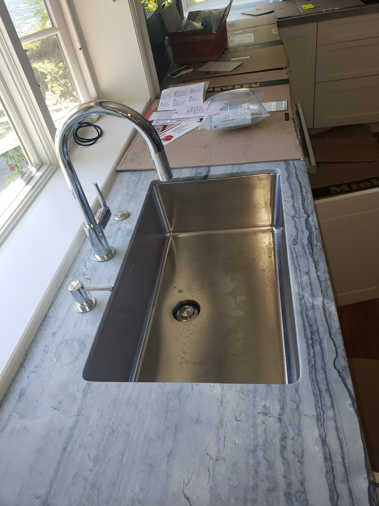Nevada City, CA Residential Kitchen Remodel Pull Down Nickel Sink Faucet and Stainless Sink